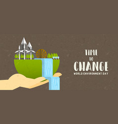 environment day banner green earth landscape vector image