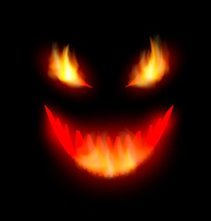Face demon with burning eyes vector