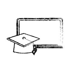 figure blackboard object with cap graduation vector image