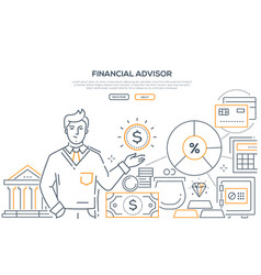 financial advisor - modern line design style web vector image