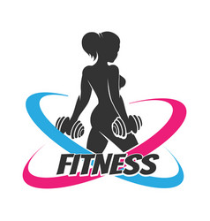 Fitness logo template with woman at workout vector