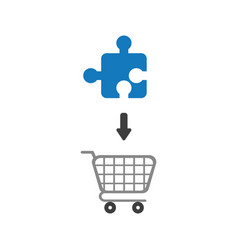 flat design concept of jigsaw puzzle piece into vector image