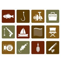 Flat Fishing and holiday icons vector