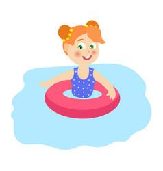 flat girkin inflatable ring in pool vector image