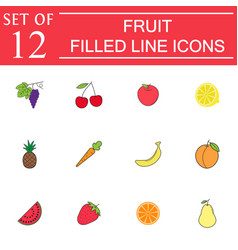 Fruits line icon set organic vegetarian food vector