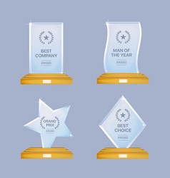 glass trophy awards set glossy transparent vector image