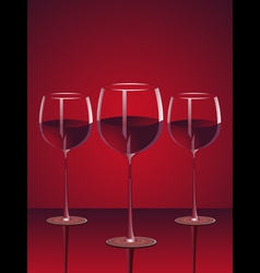 glasses red wine vector image