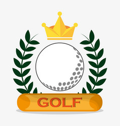 golf ball crown label emblem vector image