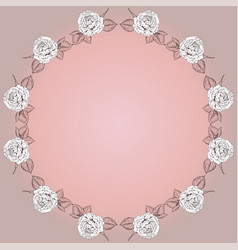 greeting card with round floral frame from roses vector image