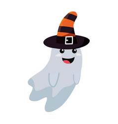 halloween ghost with witch hat vector image