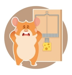 Hamster and a mousetrap vector