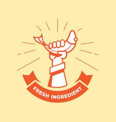 hand catch fish logo vector image