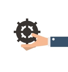 hand holding gear icon vector image