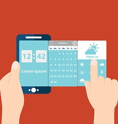 Hands holding mobile with time and date vector