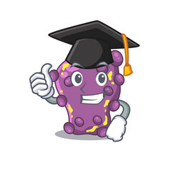 Happy face shigella in graduation hat for ceremony vector