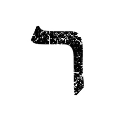 Hebrew letter Resh Shabby black font The Hebrew vector