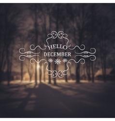 Hello December Winter background vector image