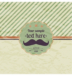hipster retro label with mustache vector image