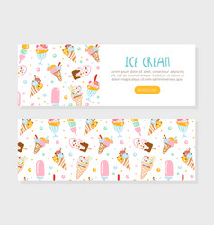 ice cream landing page template tasty sweet vector image