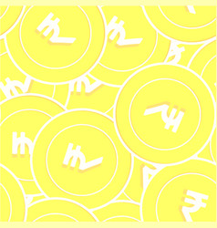Indian rupee gold coins seamless pattern delicate vector