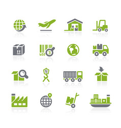 Industry and logistics icons natura series vector