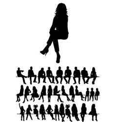 isolated collection silhouettes people men vector image
