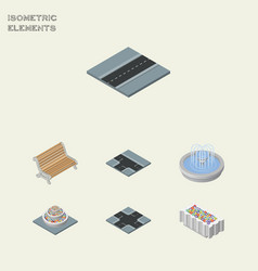 Isometric architecture set of plants seat path vector
