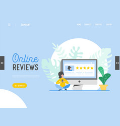 Landing page template review concept vector