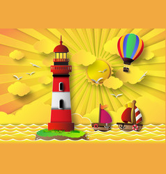 Lighthouse with seascape and sun set vector