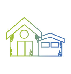 line clean house with roof and door design vector image