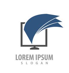 logo concept design sheet paper monitor symbol vector image