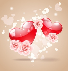 Love hearts with roses vector image