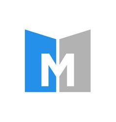 M letter initial logo design simple minimalist vector