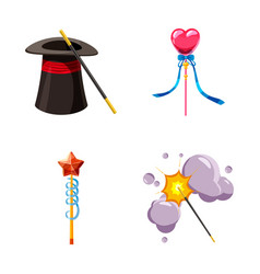 Magic wand icon set cartoon style vector