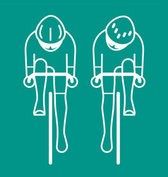 modern cyclists from front view vector image