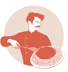moustached chef carrying a plate of spaghetti and vector image