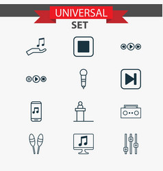 music icons set with computer audio buttons sell vector image