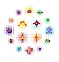 Ninja weapon icons set comics style vector