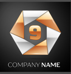 Number nine logo symbol in the colorful hexagon on vector