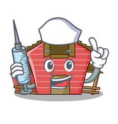 Nurse a red barn house character cartoon vector