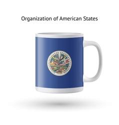 Organization american states flag souvenir mug vector