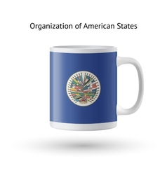 Organization of American States flag souvenir mug vector