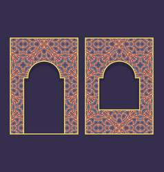 Ornamental frames in form oriental door vector
