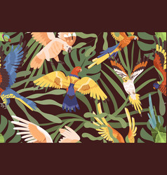 parrots in jungles pattern seamless background vector image