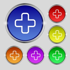 Plus icon sign Round symbol on bright colourful vector image
