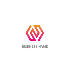 Polygon line n initial business logo vector