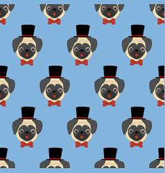 pug seamless pattern vector image