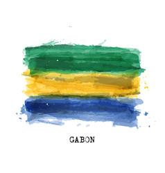 Realistic watercolor painting flag gabon vector