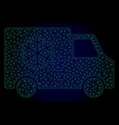 Refrigerator car polygonal frame mesh vector