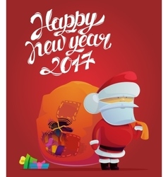 Santa claus with holes in bag for 2017 new year vector